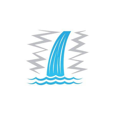 Wasserfallikonenvektor lokalisiert auf Vektorgrafik