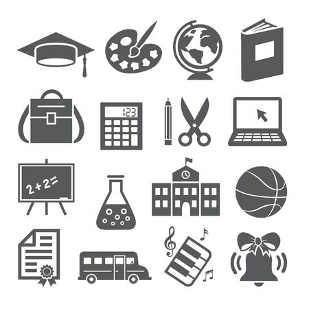 School and Education Icons on Illustration