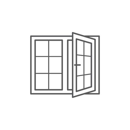 Window line icon on white