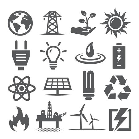 Energy icons set on white