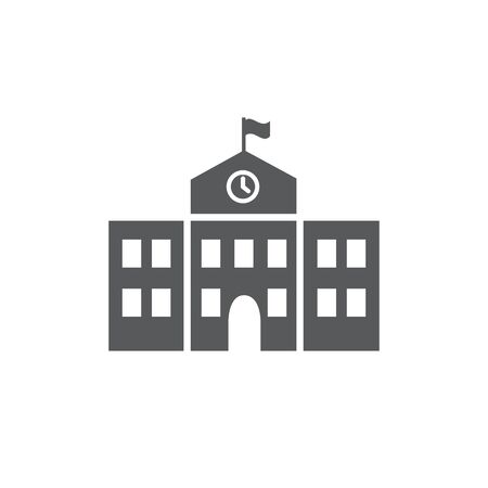 School building icon on white