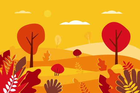 Autumn landscape Vector illustration in