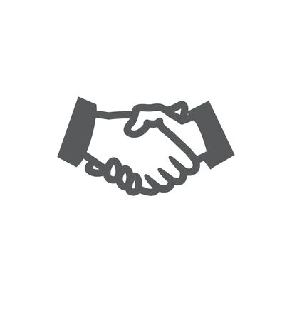Handshake icon on white background Illustration
