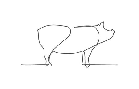 Pig One line drawing on