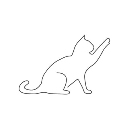 Cat One line drawing on