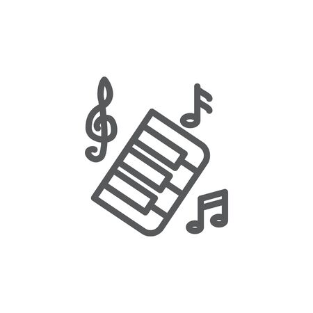 Music line icon on white