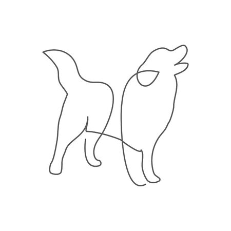 Dog One line drawing on