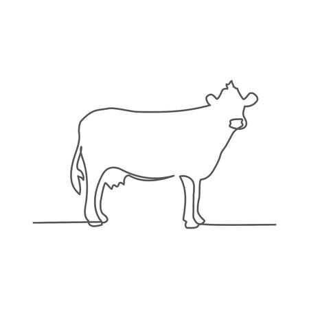 Cow One line drawing on Illustration