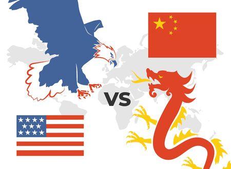 Trade war concept USA versus
