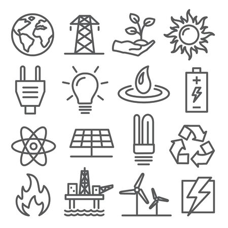 Energy line icons set on white background
