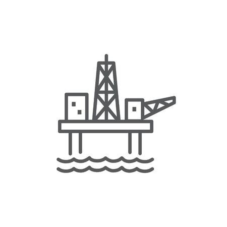 Oil Platform Line Icon on Stok Fotoğraf - 131810854