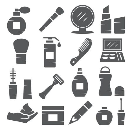 Cosmetics Icons on white background