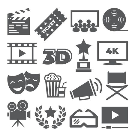 Cinema icons on white background 일러스트