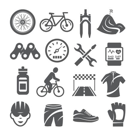 Biking icons set on white