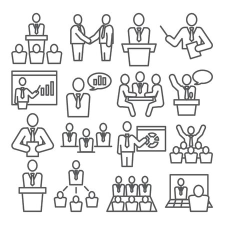 Conference line icons set on