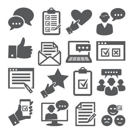 Survey icons set on white