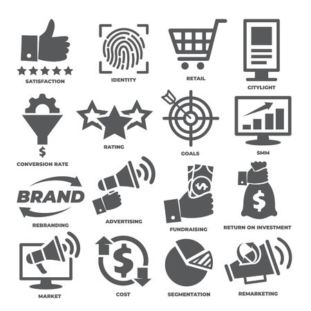 Business management icons Marketing and