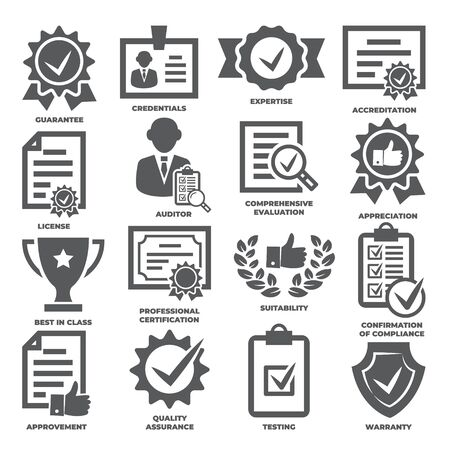 Approvement and accreditation icons set