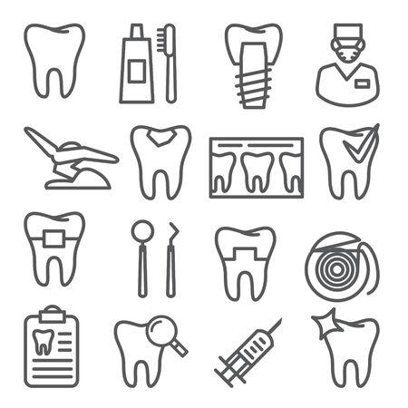 Dental line icons set on Ilustração