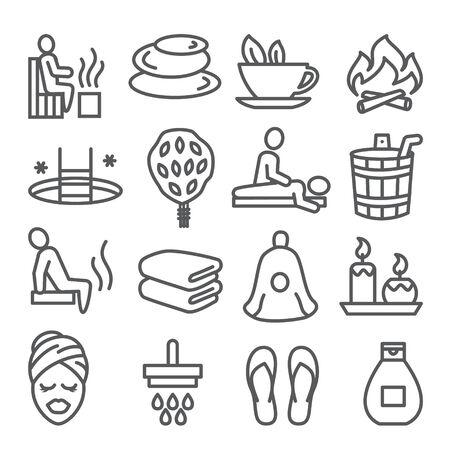 Sauna line icons set on