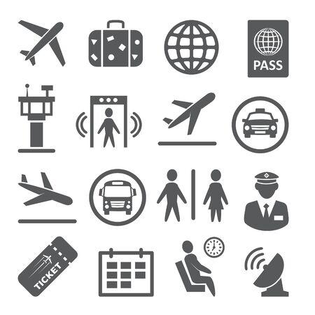 Airport icons set on white Ilustração