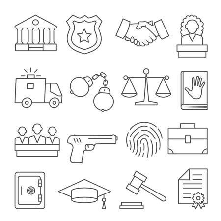 Law line icons set on white background.