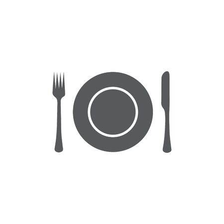 Plate,fork and knife icon Illustration