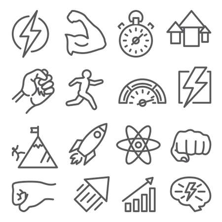 Power line icons on white background. Illustration
