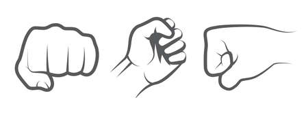Hand punch icons on white
