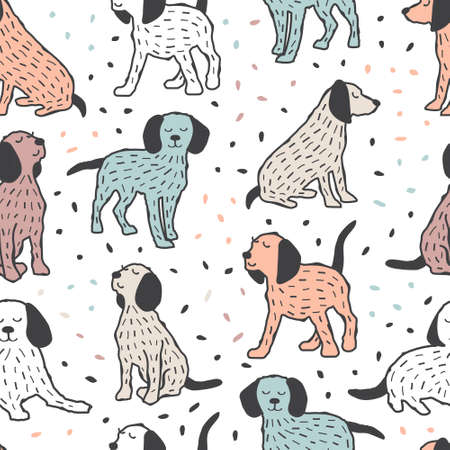 Childish seamless pattern with dogs Illustration