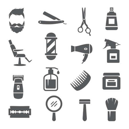 Barber Shop Icons on white