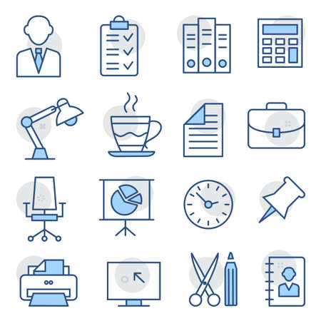 Office Line Icons on white