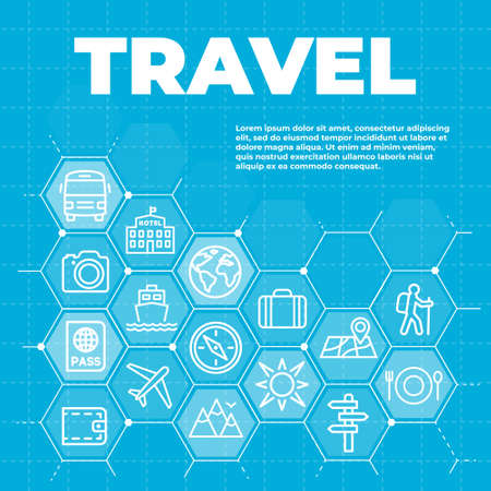Travel and tourism blue background Illustration