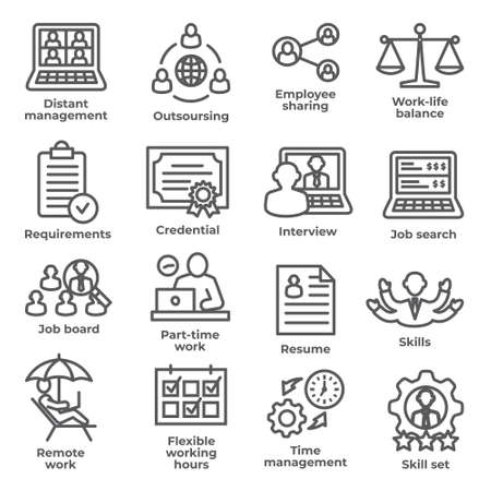 Work from home line icons Illustration