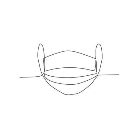 Medical mask One line drawing