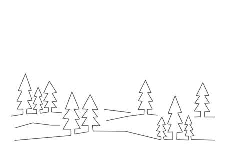 Forest illustration in line style