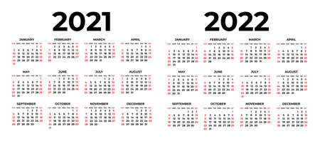 Calendar for 2021 and 2022