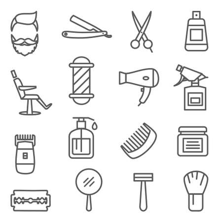 Barber Shop Line Icons on