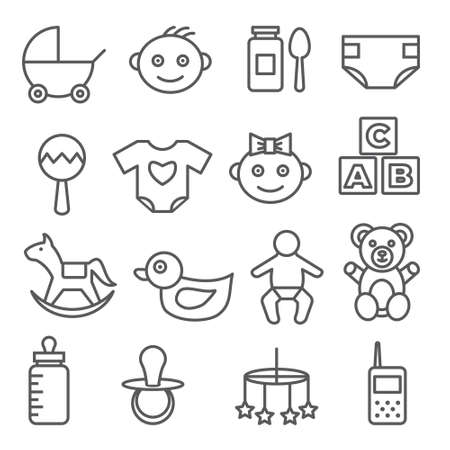 Baby line icons set on