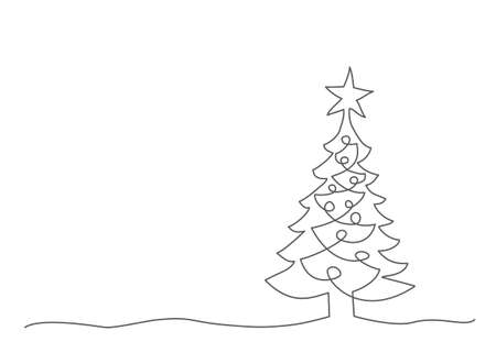 Christmas tree One line drawing Illustration