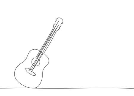 Guitar One line drawing on