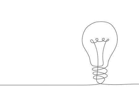 Light bulb One line drawing Illustration