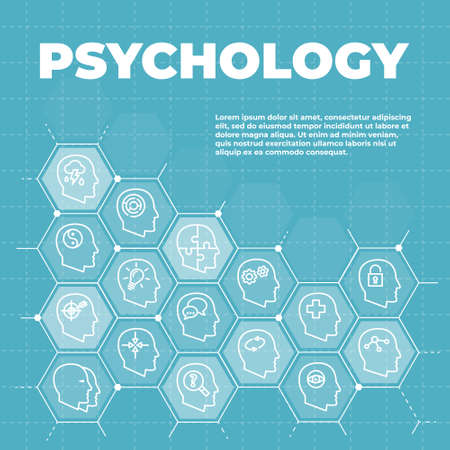 Psychology background with icons and