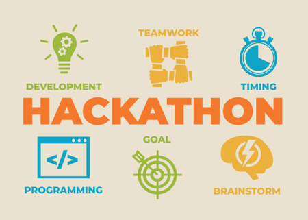 HACKATHON Concept with icons and Illustration