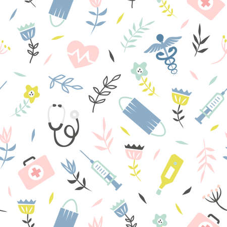 Medical seamless pattern with flower
