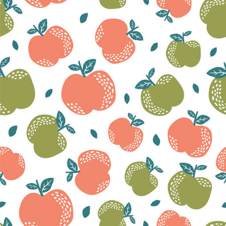 Seamless pattern with cute apple