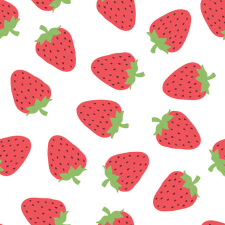 Seamless pattern with cute strawberry