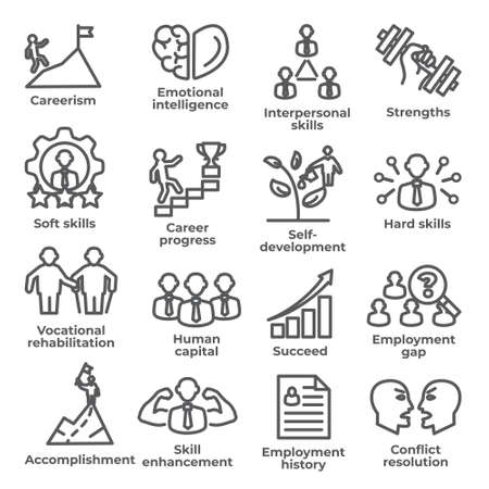 Employment line icons set on Illustration