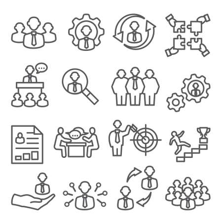 Employee line icons Business and