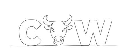 Cow One line drawing Vector Illustration